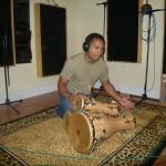 BalcaniaOrchestra-Alberto-recording-the bata-part-in-Sharen-Dream